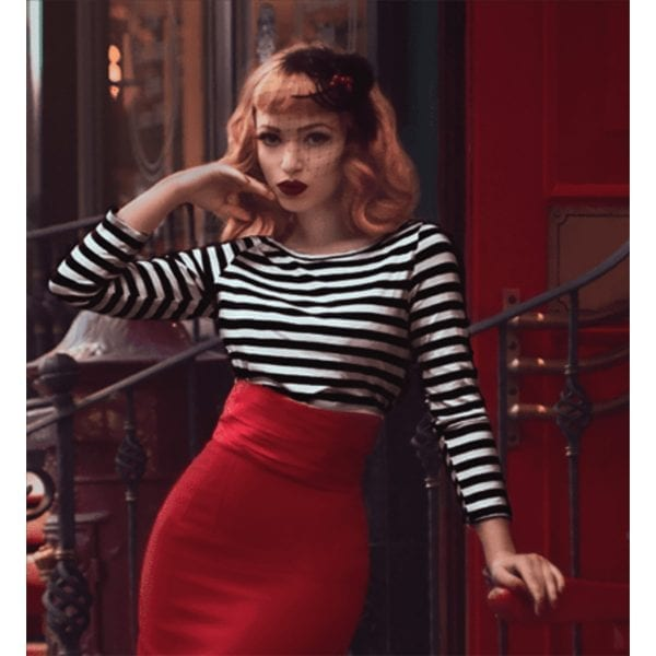 GLAMOUR BUNNY Rockabilly Striped Sylvia Topp