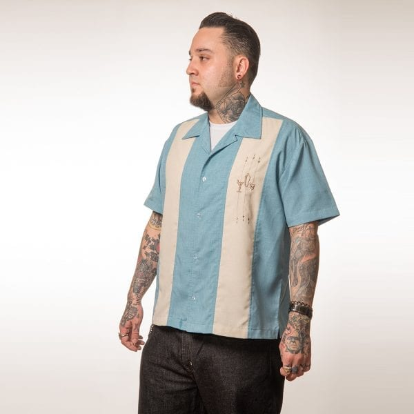 The shake down ljusblå skjorta rockabilly 50-tals skjorta