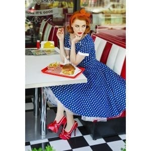 DOLLY AND DOTTY Darlene marinblå prickig 50-tals klänning rockabilly vintage