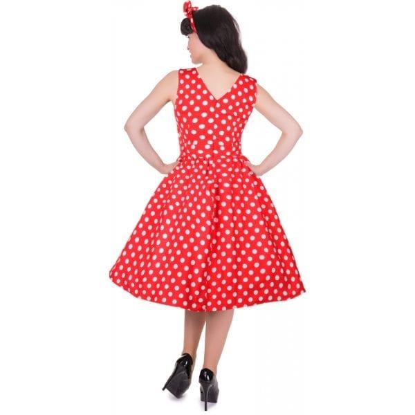 DOLLY AND DOTTY May röd prickig rockabilly klänning