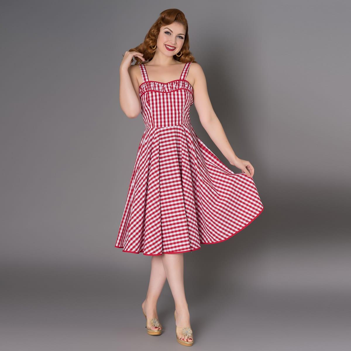 SHEEN gingham röd vintage klänning