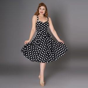 SHEEN svart med vita prickar 50-tals klänning