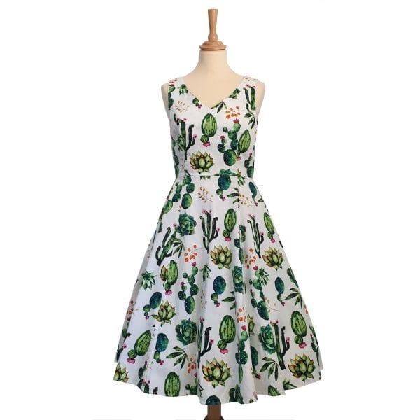 EVAROSE Vintage kaktus 50-tals klänning