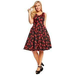 EVAROSE Rockabilly Körsbär 50-tals klänning