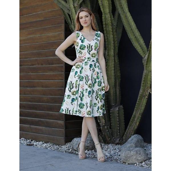 EvaRose kaktus vintage rockabilly 50-tals klänning