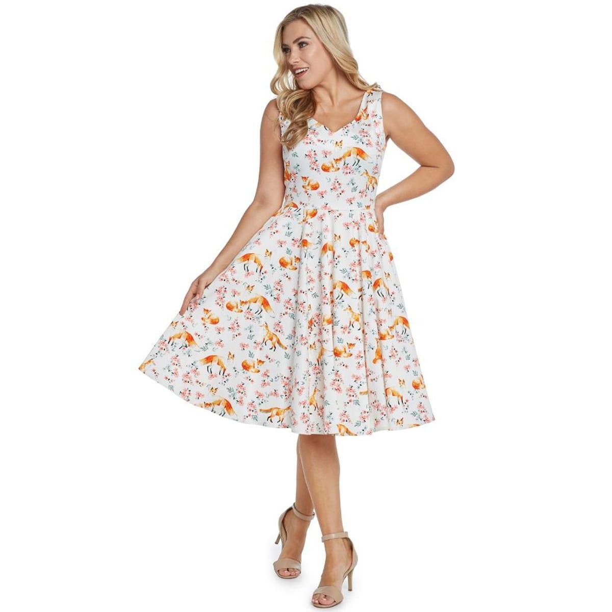 EVAROSE Rockabilly körsbär 50 tals klänning