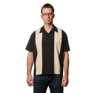 Steady rockabilly popcheck svart grå bowling skjorta