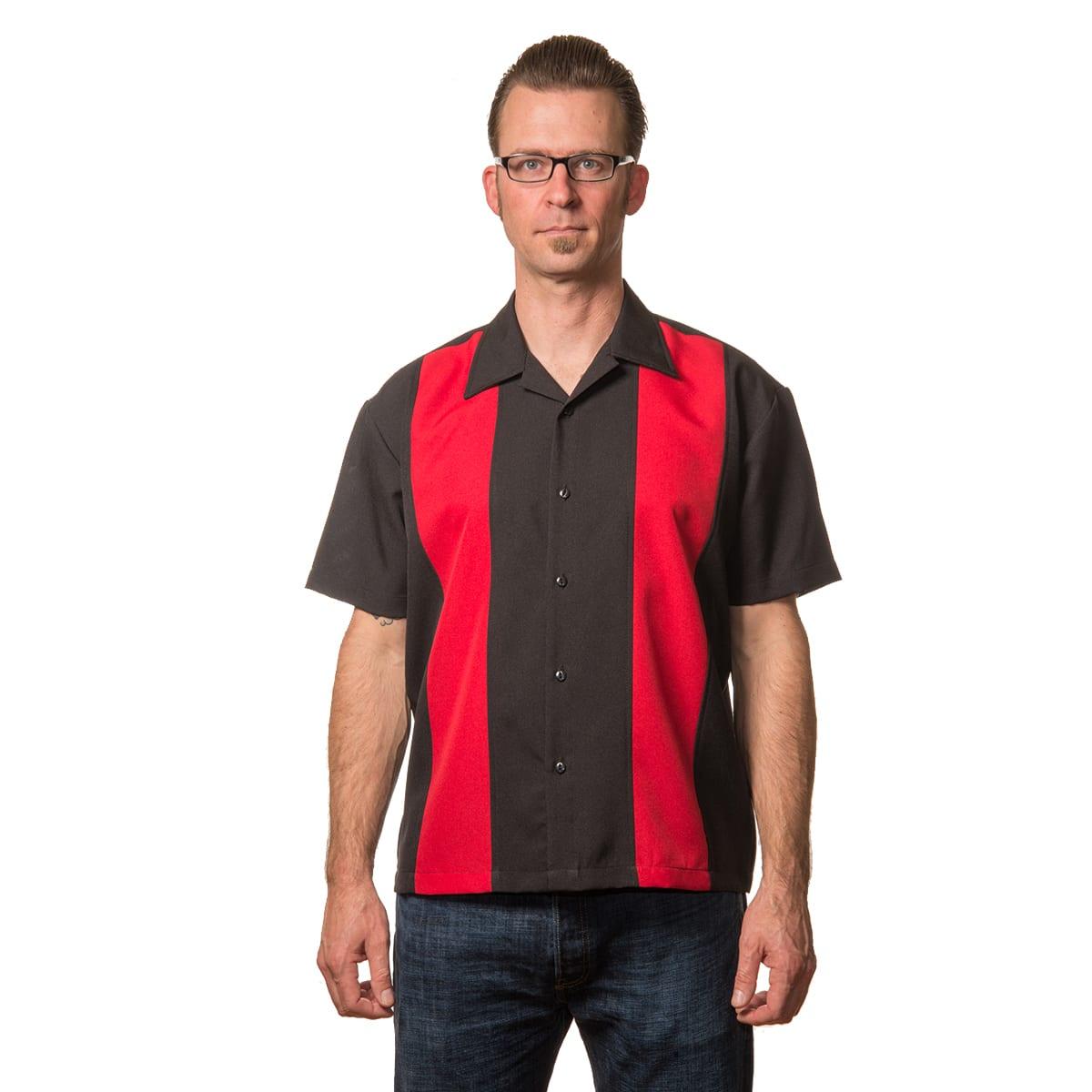 Steady svart rod rockabilly bowling skjorta bowling-skjortor