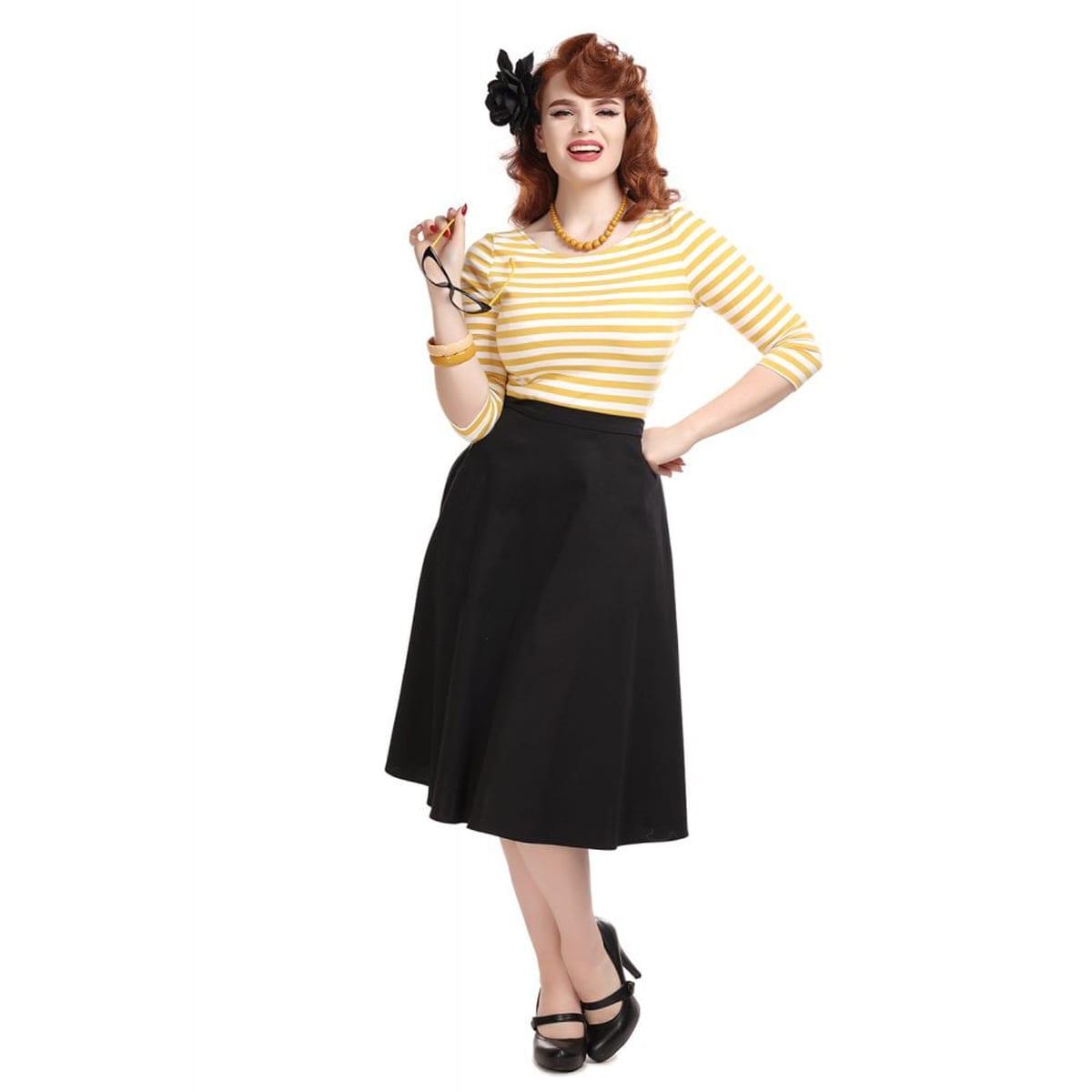 Collectif Cassie vintage svart swingkjol med fickor