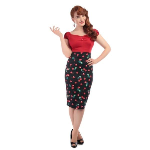 COLLECTIF Fiona körsbär rockabilly pennkjol 50-tal vintage