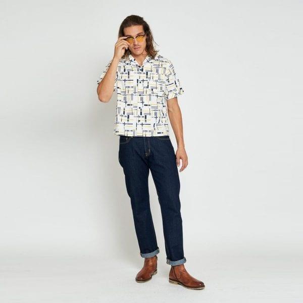 Collectif Oscar carnaby 50-tals skjorta rockabilly herrskjortor
