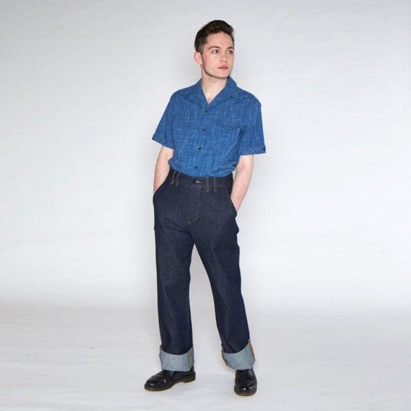 Collectif Oscar mörkblå 50-tals skjorta rockabilly herrskjortor