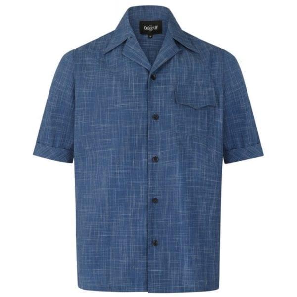 Collectif Oscar mörkblå 50-tals skjorta rockabilly