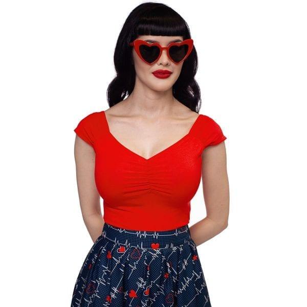 Retrolicious Isabel 50tals topp röd