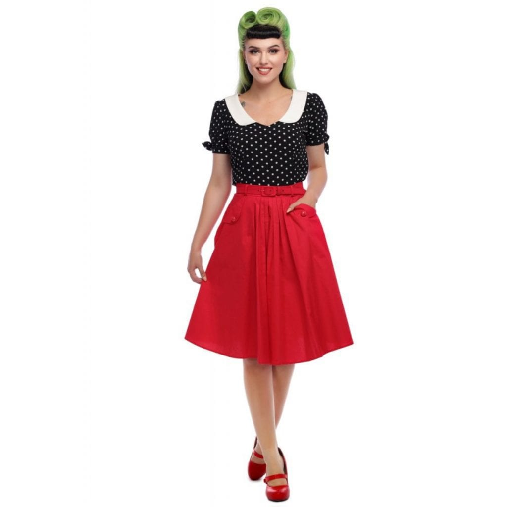 Collectif Dakota röd 50-tals kjol swingkjol rockabilly vintage