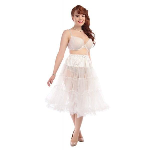 Collectif Maddy vit 50-tals tyllkjol petticoat underkjol vintage
