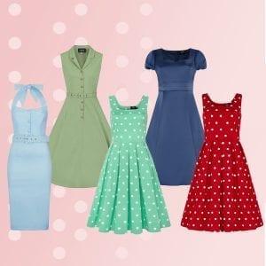 50tals klänningar vintage retro rockabilly kläder prickar