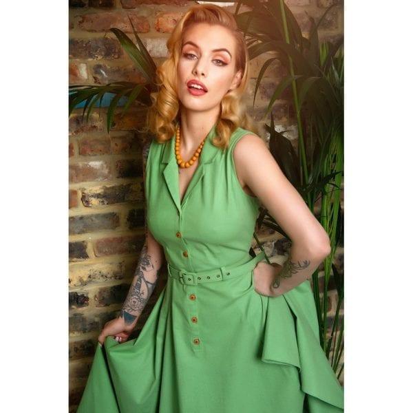 COLLECTIF Caterina ljusgrön vintage skjortklänning 2