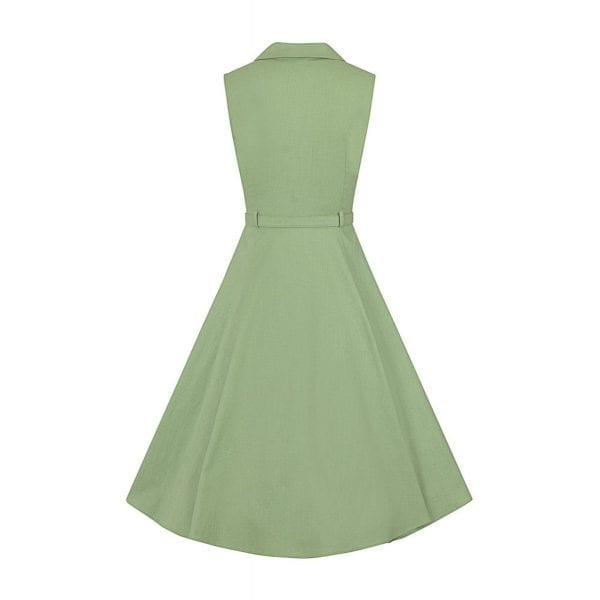 COLLECTIF Caterina ljusgrön vintage skjortklänning