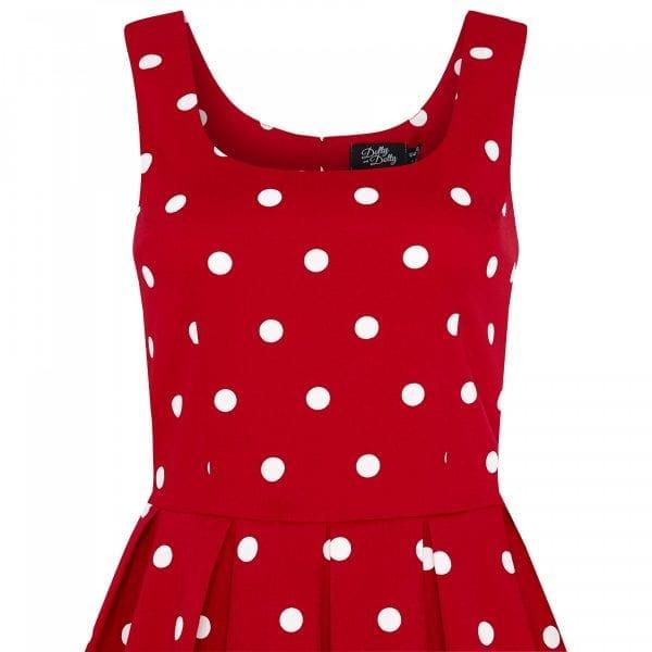 DOLLY AND DOTTY Amanda röd polkadot prickig klänning