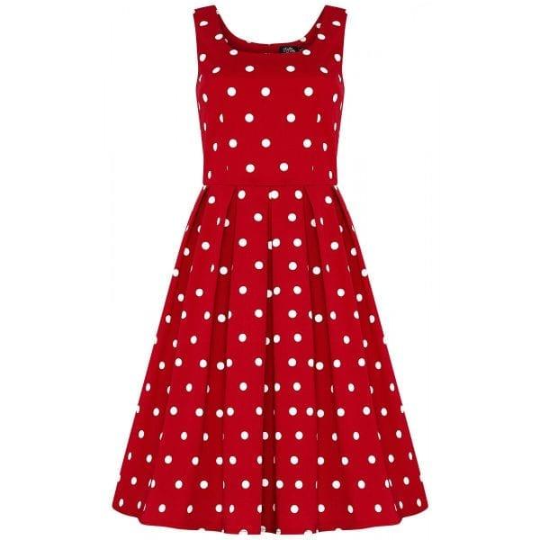 DOLLY AND DOTTY Amanda röd prickig klänning