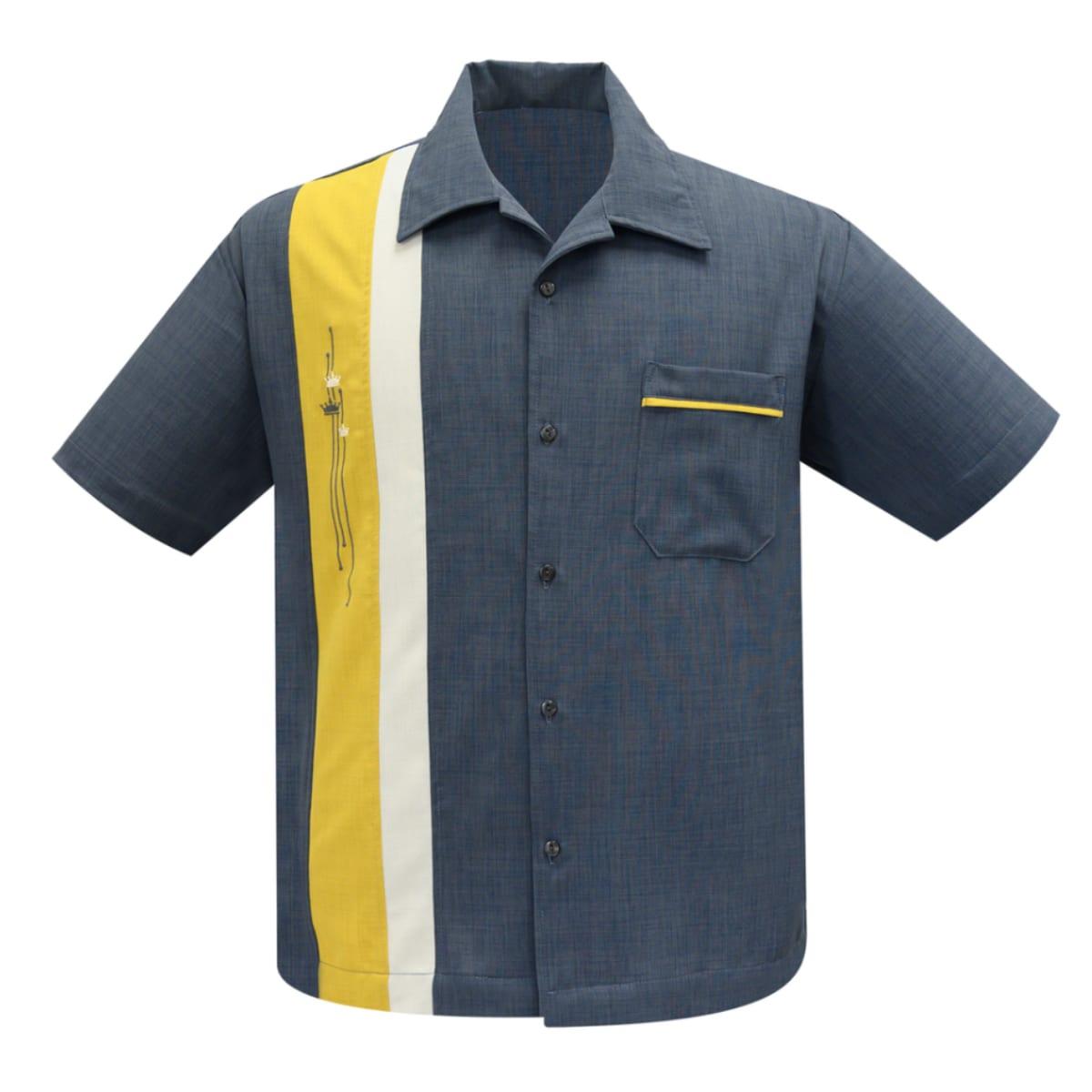 STEADY Arthur 50-tals mörkgrå skjorta bowling-skjortor