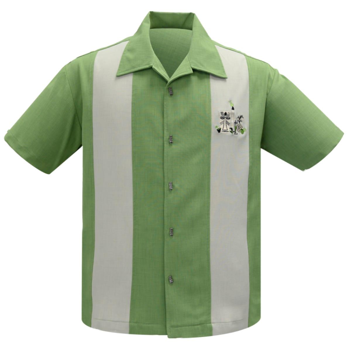 STEADY Mickey tiki 50-tals grön skjorta bowling-skjortor