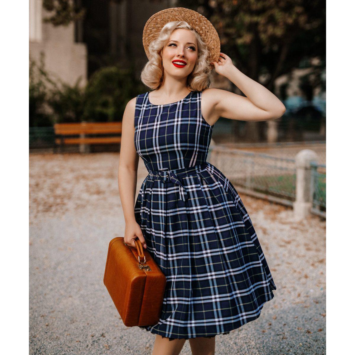 Dolly and Dotty Annie Retro Check Tartan Swing klänning